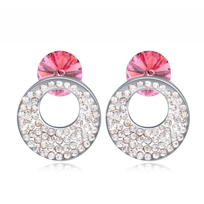 Серьги с розовыми кристаллами Сваровски «Каприз»