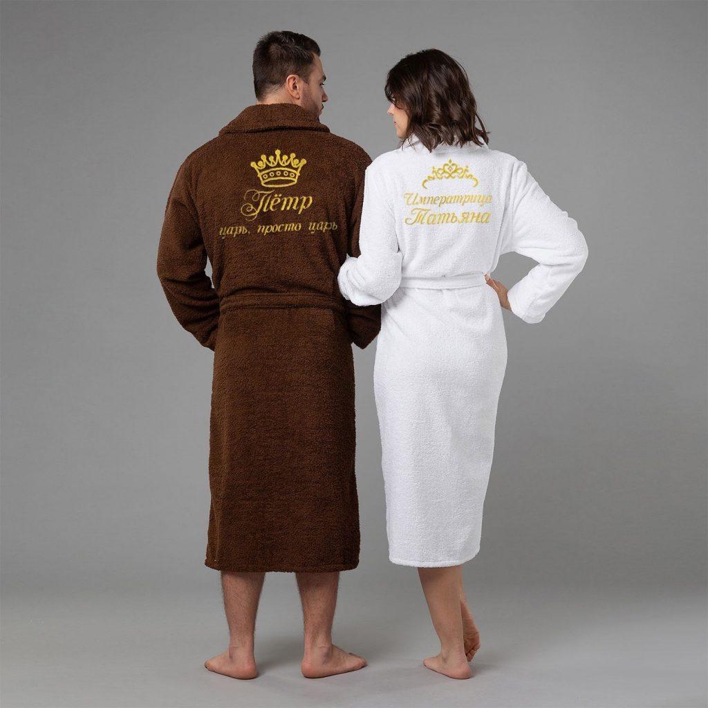 Комплект халатов с именной вышивкой «Царь и Императрица»
