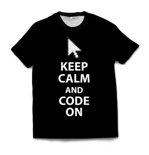 Мужская футболка 3D KEEP CALM AND CODE ON