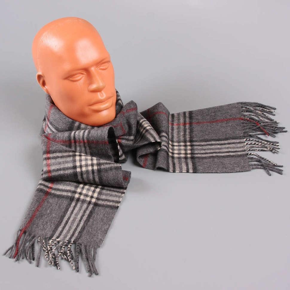 Серый мужской шарф в клетку Halstech